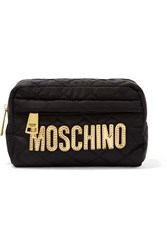Moschino Metallic Leather Trimmed Quilted Shell Cosmetics Case