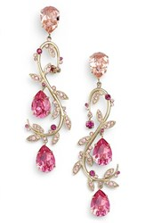 Oscar De La Renta Women's Crystal Swirl Drop Earrings Fuchsia