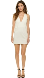 Ad Loose Deep V Mini Dress White