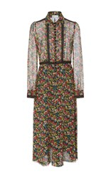 Red Valentino Long Sleeve Floral Shirt Dress Multi