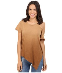 Lna Cut Out Shoulder Tee Ombre Khaki Women's T Shirt Brown