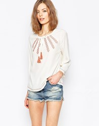 Only Cheesecloth Bell Sleeve Top With Embroidered Detail White