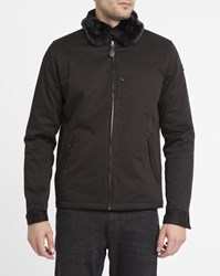 Schott Nyc Black Evans Removable Fur Collar Cotton Jacket