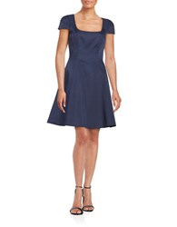 Badgley Mischka Platinum Cap Sleeve Fit And Flare Dress Navy