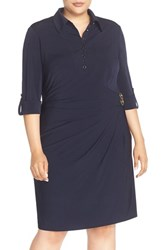 Tahari Plus Size Women's Roll Sleeve Wrap Front Jersey Shirtdress