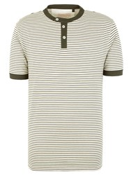Racing Green Graduate Stripe Henley Top Olive