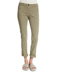 Brunello Cucinelli Low Rise Skinny Jeans Green Tea Women's