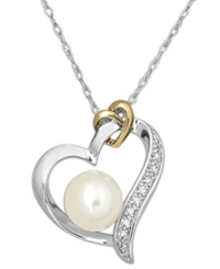 Macy's 14K Gold And Sterling Silver Necklace Cultured Freshwater Pearl 8Mm And Diamond Accent Heart Pendant