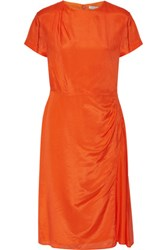 Nina Ricci Striped Silk Blend Dress Bright Orange