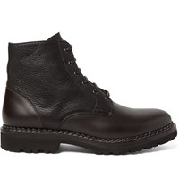 Brunello Cucinelli Panelled Leather Boots Brown