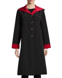 Jane Post Hooded Button Front Reversible Coat Black Red