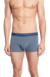 Boss Men's Stripe Stretch Cotton Boxer Briefs Open Blue