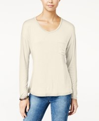 Rebellious One Juniors' V Neck High Low Pocket Tee Ivory