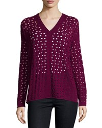 Lafayette 148 New York V Neck Eyelet Sweater Loganberry Women's