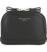 Aspinal Of London Hepburn Small Lizard Effect Leather Cosmetic Case Black
