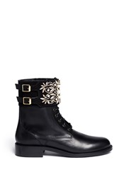 Rene Caovilla 'Biker' Crystal Embellished Suede Cuff Leather Boots Black