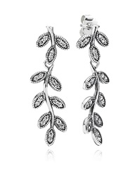 Pandora Design Pandora Drop Earrings Sterling Silver And Cubic Zirconia Sparkling Leaves