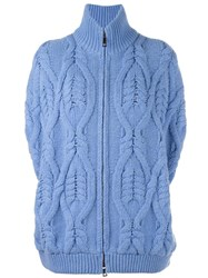 Fay Open Sleeve Cable Knit Cardigan Blue