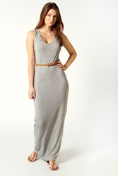 Boohoo Racer Back Maxi Dress Grey Marl