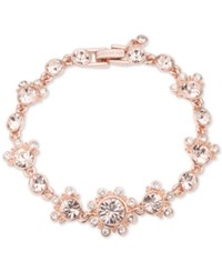 Givenchy Rose Gold Tone Multi Crystal Link Bracelet Pink
