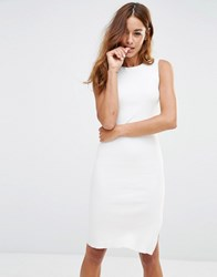 Noisy May Ribbed Knit Dress With Side Slit Detail Snow White