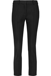 Michael Kors Collection Cropped Stretch Wool Straight Leg Pants Black
