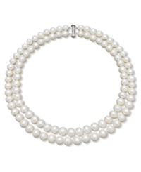 Belle De Mer Two Row Cultured Freshwater Pearl Strand Necklace In Sterling Silver 9 1 2 10 1 2Mm