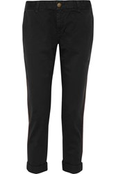 Current Elliott The Buddy Cropped Washed Cotton Twill Straight Leg Pants Black