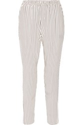 Rag And Bone Striped Silk Satin Track Pants Cream