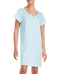 Karen Neuburger Printed Cotton Blend Sleepshirt Blue