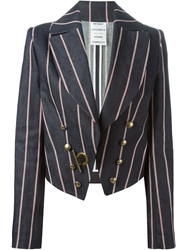 Anthony Vaccarello Gold Hardware Striped Blazer