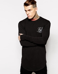 Siksilk Long Sleeve Fitted T Shirt Black