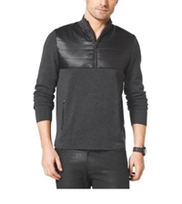 Michael Kors Quilted Nylon And Wool Half Zip Pullover Concrete