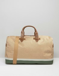 Racing Green Canvas Holdall With Leather Look Trims Tan