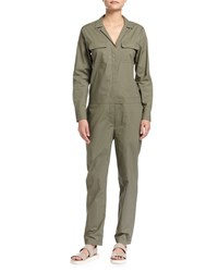 Equipment Blaise Long Sleeve Cotton Jumpsuit Dusty Olive
