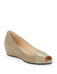 Aquatalia By Marvin K Margaret Peep Toe Wedges Taupe