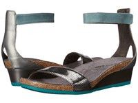 Naot Footwear Pixie Silver Pebble Leather Sterling Leather Sea Green Leather Women's Sandals Metallic