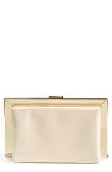 Natasha Couture Patent Framed Box Clutch Ivory