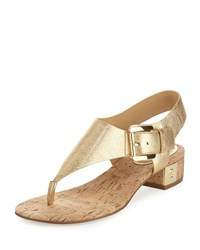 Michael Michael Kors London Metallic Low Heel Thong Sandal Pale Gold