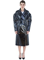 Lanvin Raw Edged Vinyl Trench Coat Black