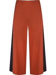 Andrea Marques High Waist Panel Cropped Trousers Brown