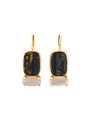Wouters And Hendrix 'Playfully Precious' Tiger Iron And Moonstone Earrings Metallic