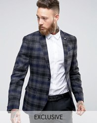 Noose And Monkey Skinny Blazer In Brushed Check Grey