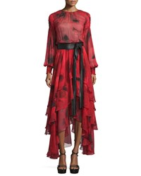 Michael Kors Collection Long Sleeve Tiered Silk Peasant Gown Crimson Size 12 Red