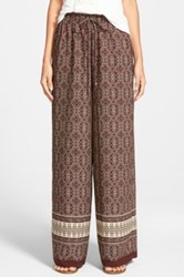 Soprano Border Print Palazzo Pants Juniors Brown
