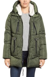 Steve Madden Women's Hooded Puffer Jacket With Faux Shearling Trim Olive