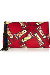 Atelier Vlisco Xxl Leather Trimmed Printed Scuba Jersey Clutch Red