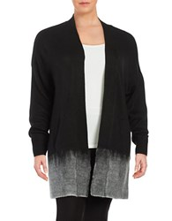 Lord And Taylor Plus Textured Open Front Cardigan Black