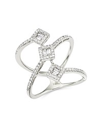 Bloomingdale's Diamond Round And Baguette Statement Ring In 14K White Gold .50 Ct. T.W. Gold Green