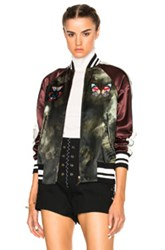 Valentino Butterfly Bomber Jacket In Green Purple Ombre And Tie Dye Green Purple Ombre And Tie Dye